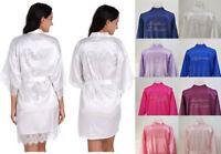 Women Silk Satin Dressing Gown Wedding Bride Bridesmaid Kimono Robe Sleepwear