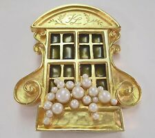 VINTAGE KARL LAGERFELD STORE FRONT BROOCH ENAMEL FAUX PEARLS WINDOW BOX PIN