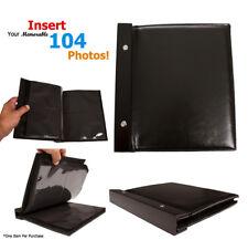 "Leatherette Cover Photo Album / Wedding Album 4"" x 6""  104 Photo Inserts Black"