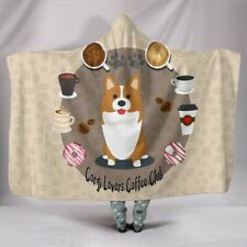 Corgi Lovers Coffee Club Hooded Blanke - Sherpa And Microfiber Blanket With Hood