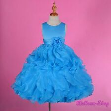 Sky Blue Satin Organza Formal Dress Wedding Flower Girl Pageant Party Sz 8 FG234