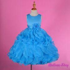 Sky Blue Satin Organza Formal Dress Wedding Flower Girl Pageant Party Sz 8 FG234