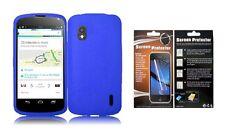 Screen Protector + Blue Silicone Case for LG Optimus G Nexus Google Nexus 4 E960