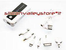 Power Bank 5600 MAH Batteria Esterna USB IPhone Samsung HTC Nokia LED Bianco