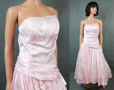 80s Prom Dress Sz S Vintage Strapless Pink Floral Satin Long Gown Costume