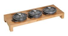 Poussière servierbrett pour 3 cycle Mini cocotte rôtissoire kochtopfs bois 46x16x5 CM