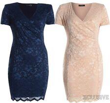 Knee Length Plus Size Wrap Dresses