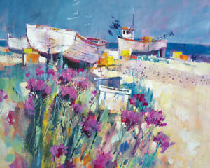 CHRIS FORSEY canvas wall art - ready framed - Boats and Beach Blooms 40x50x4 cm