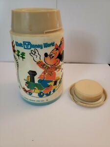 Vintage 1970's Walt Disney World Aladdin Thermos Mickey Mouse Magic Kingdom Blue