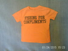 Boys 2 Years - Orange T-Shirt with 'Fishing for Compliments' Logo - Gap
