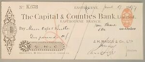 The Capital & Counties Bank Ltd cheque - Eastbourne 1897. CHQ No: K.678