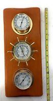 Vintage Weather Station Barometer Thermometer Humidity Sunbeam Wood Nautical