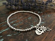 Robin Bird & Flower Charms Silver Plated Ball Beads Stretchy Stacking Bracelet