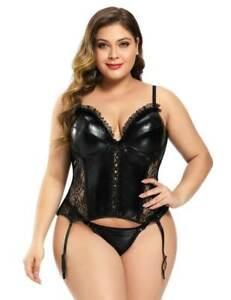 Sexy Black Lace Faux Leather Push Up Boned Corset Basque Sz 12 14 16 18 20 22 24