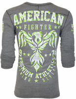 AMERICAN FIGHTER Mens LS T-Shirt DEFIANCE Eagle GREY Athletic Biker Gym $58