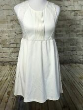 YA Los Angeles Ivory Sleeveless Dress Size Large Lace Pleated Top Career Work