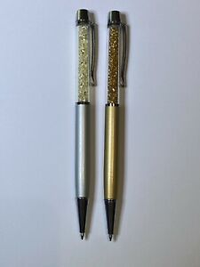 Victoria Wieck Designer Silver & Gold with Rhinestones Pen Set - Black Ink