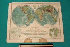 Large Edwardian (1908) MAP - THE WORLD IN HEMISPHERES -                  1-2