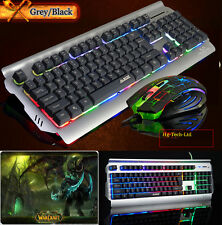 US Ajazz Battle Axe Ergonomic Rainbow Backlit Gaming Keyboard + Mouse +Mouse Pad