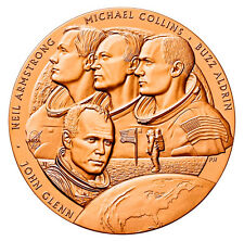 JOHN GLENN Jr MEDALLION Bronze coin & Apollo 11 NASA Moon Astronauts NEW SEALED