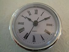 "2-1/2"" (65mm) QUARTZ CLOCK FIT-UP/Insert, Silver Trim, Roman Numeral, White Face"