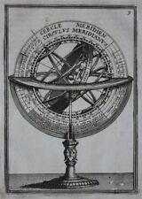 Original antique print ARMILLARY SPHERE, MERIDIANS, ZODIAC, A.M. Mallet, 1683