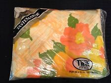 Vintage TASTEMAKER Twin Fitted Sheet No-Iron Muslin USA NEW Bright Floral Print