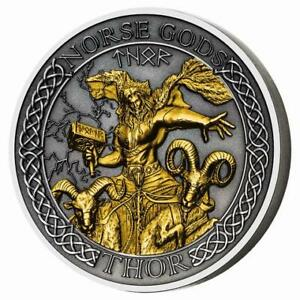 THOR Norse Gods Gold Plating 2 Oz Silver Coin 1$ Cook Islands 2020
