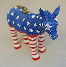 "Democrat Donkey USA Patriotic Ornament 3"" Resin Christmas Kurt Adler Gift"