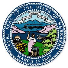"Nebraska State Seal Flag bumper sticker decal 4"" x 4"""