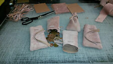 Medieval Larp SCA Pagan Reenactment Pink Leather DRAWSTRING MONEY POUCH BAG