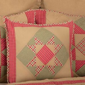 """VHC Brands Primitive 18""""x18"""" Pillow Tan Patchwork Dolly Star Bedroom Decor"""