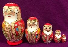 Snowmen Matryoshka nesting Wooden Russian Doll Russia 5 pc set Signed Hand Made