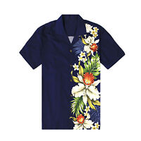 Made in Hawaii Men Hawaiian Aloha Shirt Luau Cruise Party Side Orchid Navy