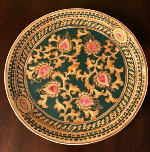 China Decorators Plate Stamped Oriental Accent Green Gold Pink Wall Or Table Art