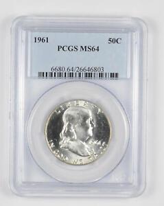 1961 MS64 Franklin Half Dollar - 90% SILVER - PCGS Graded *883