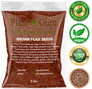 Brown Flax Seeds Whole 5 lbs. Bulk Omega-3 NON GMO 100% Pure Linseed Flaxseed
