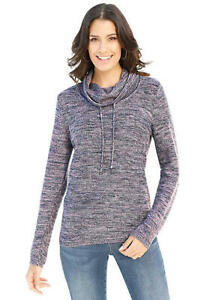 Ladies Soft Jumper- Loose Roll Neck- Navy Marl- UK Size 10- NEW