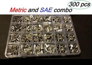 300pcs AluminumRivet NutKit Rivnut Nutsert Assort (150pcs Metric+150pcs SAE)