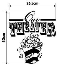 Etiqueta del vinilo de palomitas de maíz Cine en nuestra casa familia Película Cine De Arte para Decoración de pared