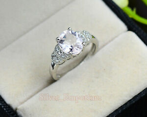 925 Sterling Silver Natural Oval Morganite Gemstone Engagement Ring For Women