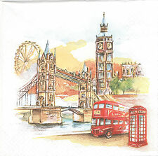 Lot de 2 Serviettes en papier Londres aquarelle DecoupageCollage Decopatch