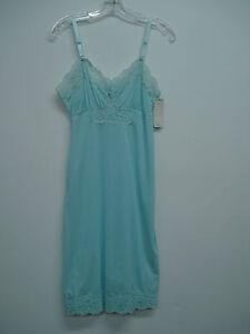 """NWT Women's USA Made Nancy King Lingerie 21"""" Full Dress Slip Size 32 Blue #25N"""