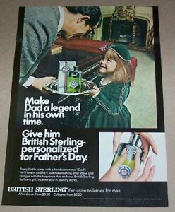 1967 print ad -British Sterling cute little Girl family Father's Day advertising