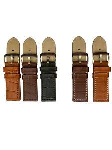 26mm Watchband Real Leather Crocodile Skin Look Quality Steel Buckle Black-Brown