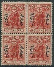 ESPAÑA  1938 00768 ** Cruz Roja Aereo Precioso Bloque de 4 / Lujo / Catálogo 1