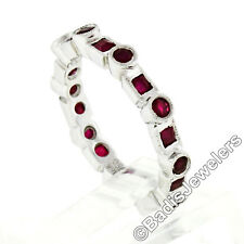 18k White Gold 1.42ctw Round & Square Milgrain Bezel Ruby Eternity Band Ring