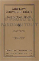 1935 Chrysler Airflow 8 Owners Manual C1 Eight Instruction Book Owner Guide Book