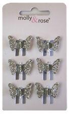 6 mini pinces à cheveux crabe - papillons  - argenté avec des paillettes