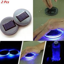 2Pcs Universal Auto Car Solar Energy Cup Holder Bottom Pad With Blue LED Light